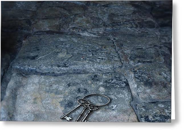 Keys on Stone Floor Greeting Card by Jill Battaglia