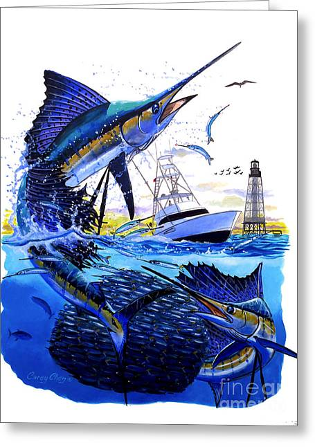 Sportfishing Boats Greeting Cards - Keys sail Greeting Card by Carey Chen