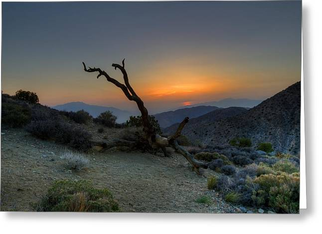 Dark Gray Blue Greeting Cards - Keys View Sunset Greeting Card by Dave Files