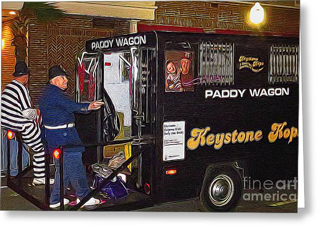 Paddy Wagon Greeting Cards - Keystone Kops Greeting Card by Scott Cameron