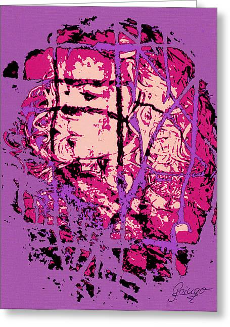Purple Abstract Greeting Cards - Kf41 Greeting Card by Gringo Artist