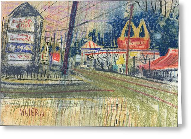 Fast Food Drawings Greeting Cards - KFC and McDonalds Greeting Card by Donald Maier