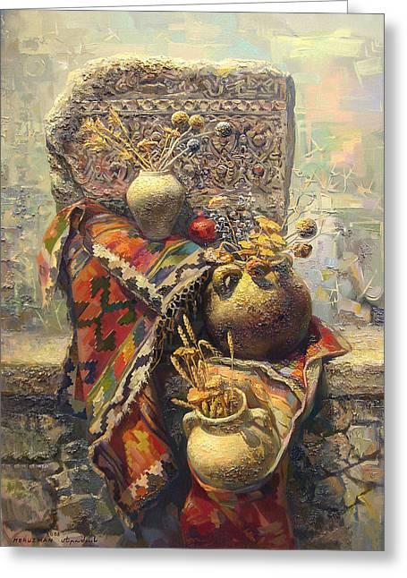 Still-life With Flowers Greeting Cards - Khachkar cross  stone still life with jugs Greeting Card by Meruzhan Khachatryan