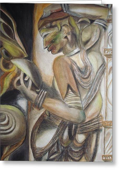 Make-up Style. Medieval Architecture Greeting Cards - Khajuraho Tantrik Dancer applying make-up Greeting Card by Prasenjit Dhar