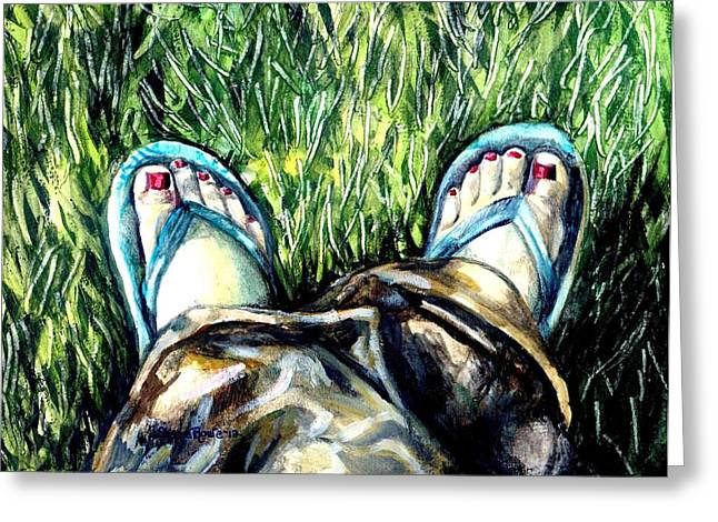 Straps Paintings Greeting Cards - Khaki Pants and Flip Flops Greeting Card by Shana Rowe