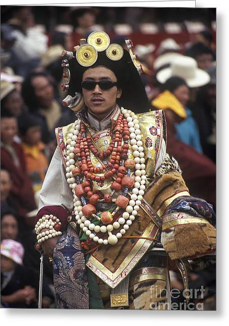 Tibetan Region Greeting Cards - Khampa Royalty - Litang Tibet Greeting Card by Craig Lovell