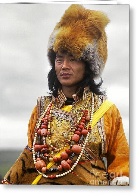 Tibetan Region Greeting Cards - Khampa Warrior - Kham Tibet Greeting Card by Craig Lovell