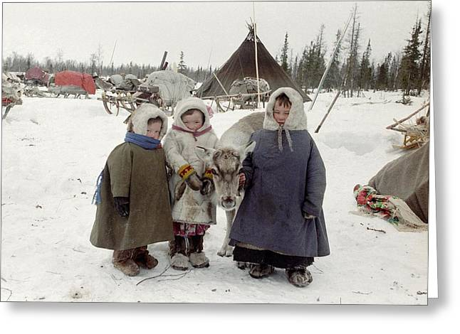 Tipis Greeting Cards - Khanty children Greeting Card by Science Photo Library
