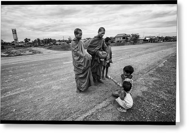 Monk-religious Occupation Greeting Cards - Khmer Rouge Monks Greeting Card by David Longstreath