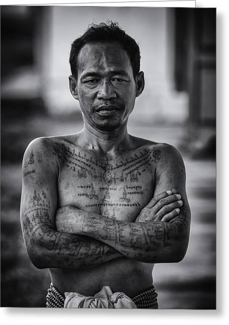 Conservative Greeting Cards - Khmer Tattoo Man Greeting Card by David Longstreath