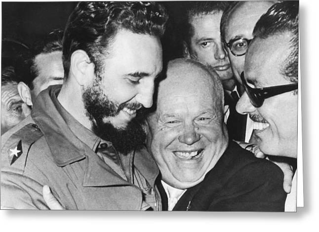 Khrushchev And Castro Greeting Card by Underwood Archives