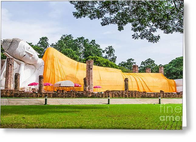 Angthong Greeting Cards - Khuninthapramu Greeting Card by Phumiphat Thammawong