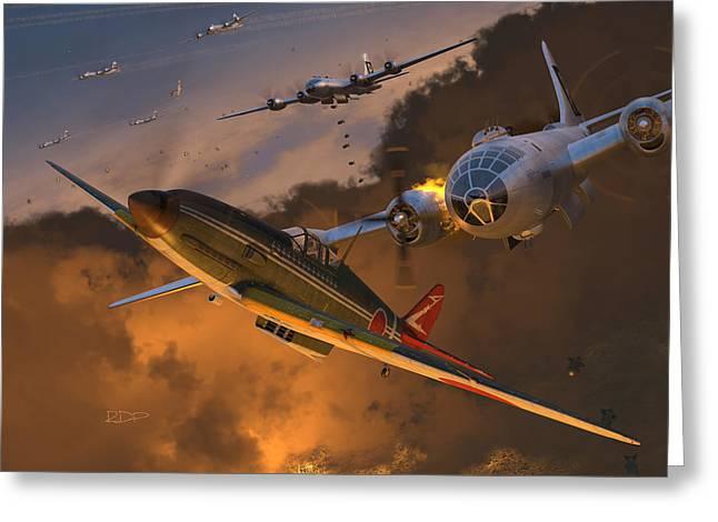 Tony Digital Greeting Cards - Ki-61 Hien vs. B-29s Greeting Card by Robert Perry