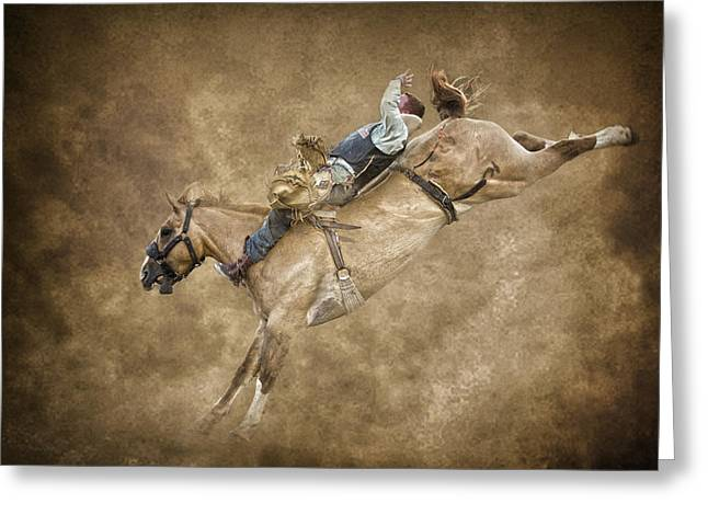Bucking Horses Greeting Cards - Kick a hole in the sky Greeting Card by Ron  McGinnis
