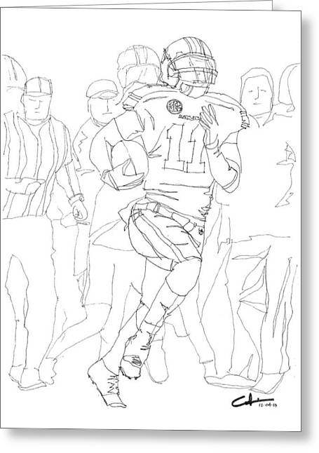 College Football Drawings Greeting Cards - Kick Bama Kick Greeting Card by Calvin Durham