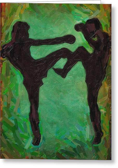 Kick Boxing Greeting Cards - Kick Boxing Greeting Card by Celestial Images
