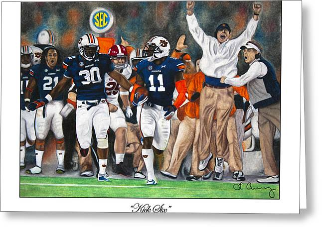 Alabama Drawings Greeting Cards - Kick Six Greeting Card by Lance Curry