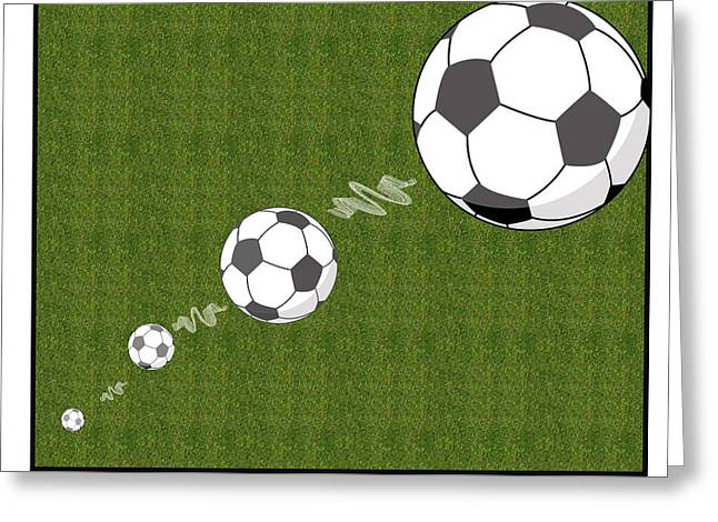 Youth Sports Bar Greeting Cards - Kick The Ball Greeting Card by Carrie Murphey