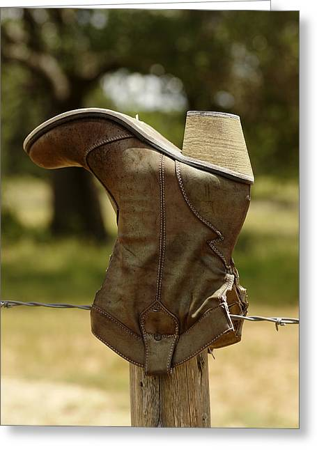 Texas Boots Greeting Cards - Kick Up Your Heels Greeting Card by Bill Morgenstern