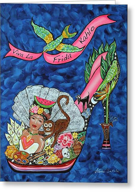 Wildlife Celebration Paintings Greeting Cards - Kick Up Your Heels Frida Greeting Card by Ilene Satala
