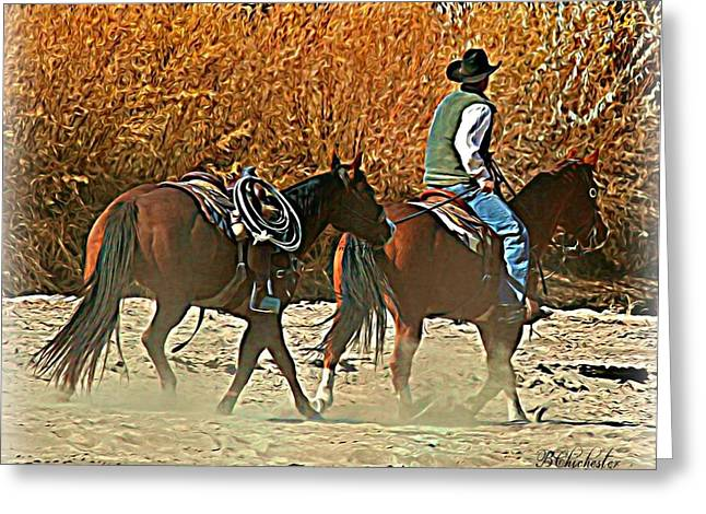 Las Cruces Digital Art Greeting Cards - Kickin up the Rio Greeting Card by Barbara Chichester