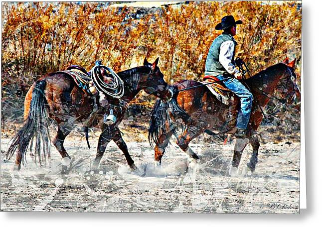 Las Cruces Digital Art Greeting Cards - Kickin Up The Rio II Greeting Card by Barbara Chichester