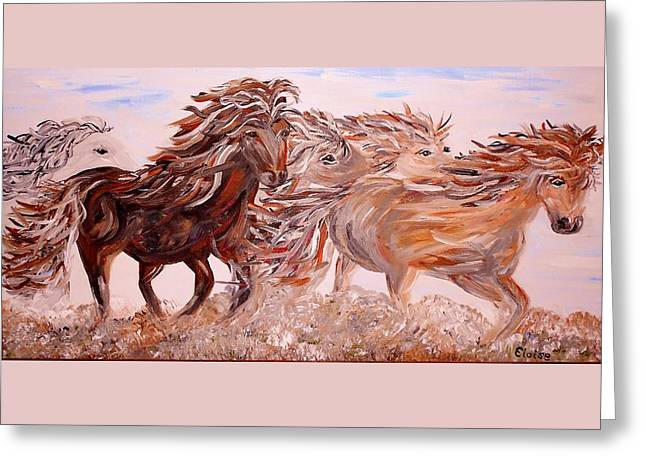 Galloping Greeting Cards - Kicking up Dust Greeting Card by Eloise Schneider