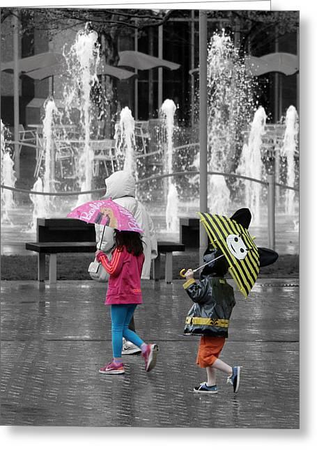 Hallmark Greeting Cards - Kid-brellas Greeting Card by Christopher McKenzie