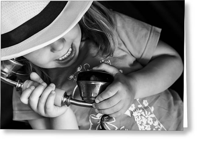 Dialing Greeting Cards - Kid on the vintage phone Greeting Card by Newnow Photography By Vera Cepic