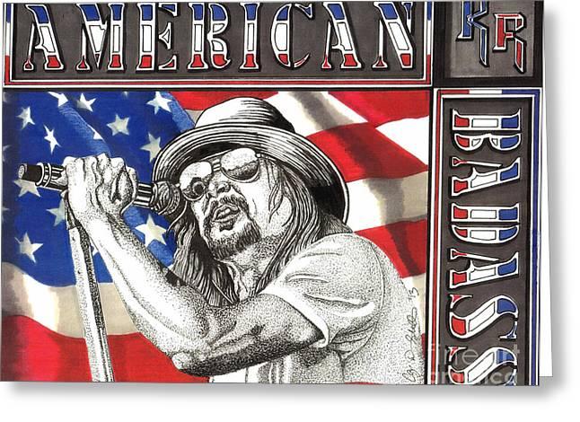 Badass Greeting Cards - Kid Rock American Badass Greeting Card by Cory Still