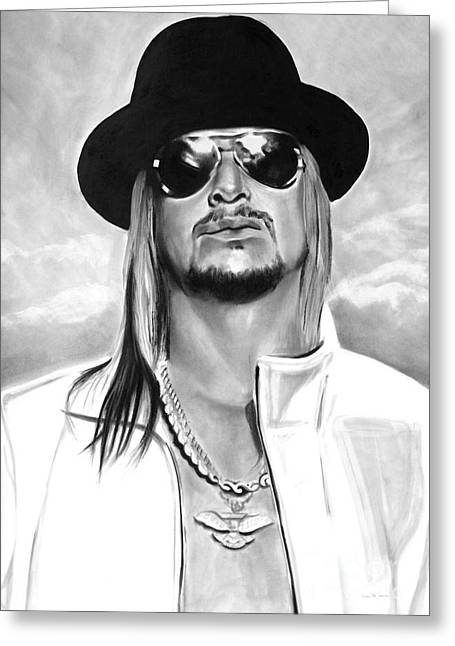 Charcoal Portrait Greeting Cards - Kid Rock Greeting Card by Brian Curran