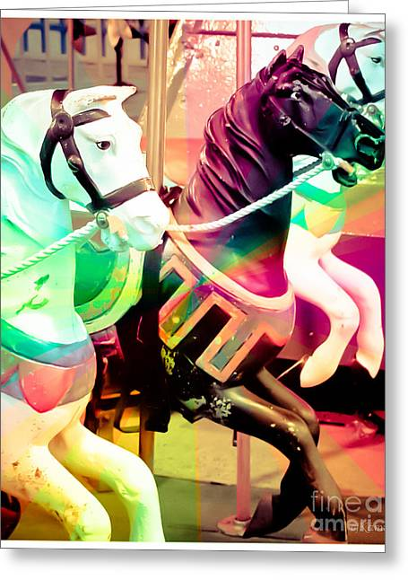 Kiddie Rides Greeting Cards - Kiddie Carousel Greeting Card by Colleen Kammerer