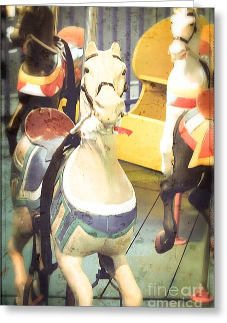 Kiddie Rides Greeting Cards - Kiddie Carousel - Painted Ponies Greeting Card by Colleen Kammerer