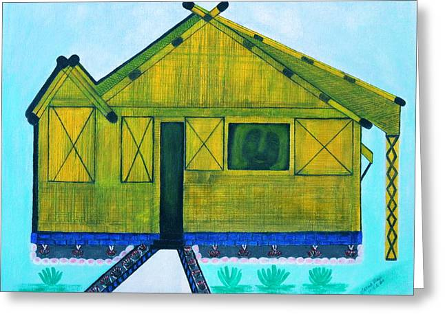 Bamboo House Greeting Cards - Kiddie House Greeting Card by Lorna Maza