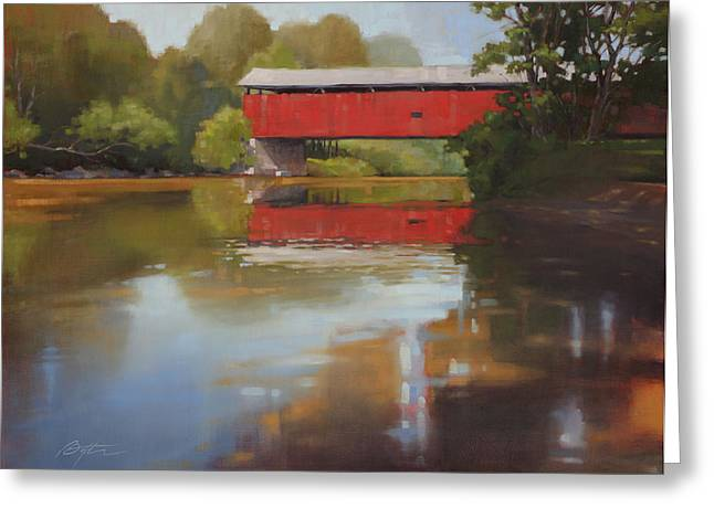 Covered Bridge Paintings Greeting Cards - Kidds Mill Bridge Greeting Card by Todd Baxter