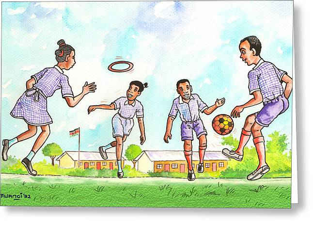 Girls Soccer Art Greeting Cards - Kids at Play Greeting Card by Anthony Mwangi