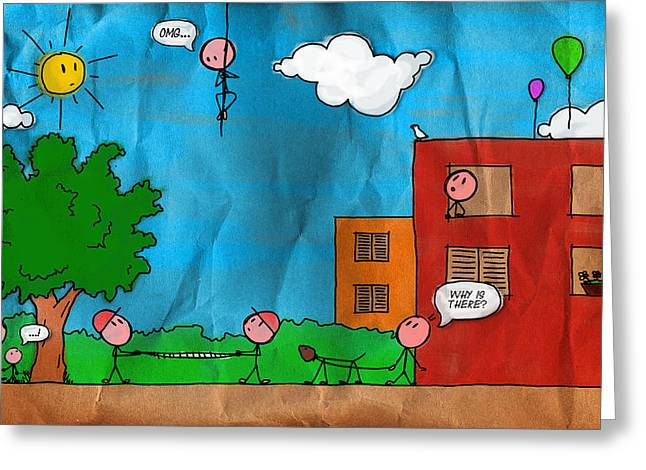 Kids at Play Greeting Card by Gianfranco Weiss