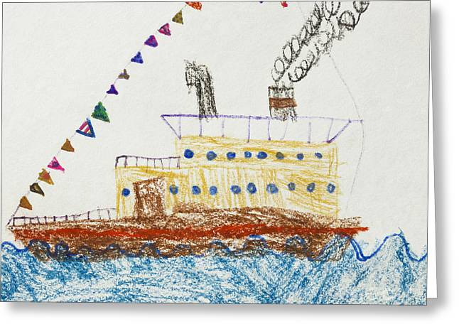 Waves Pastels Greeting Cards - Kids Drawing of a Passenger Ship in The Sea Greeting Card by Kiril Stanchev