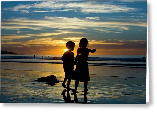 Terry Thomas Greeting Cards - Kids on the beach Greeting Card by Terry Thomas