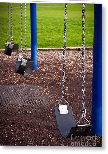 Missing Child Greeting Cards - Kids playground swing detail Greeting Card by Jan Mika
