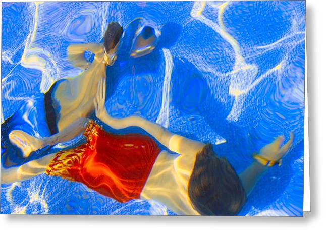 Recreational Pool Greeting Cards - Kids Swimming Underwater Greeting Card by Don Hammond