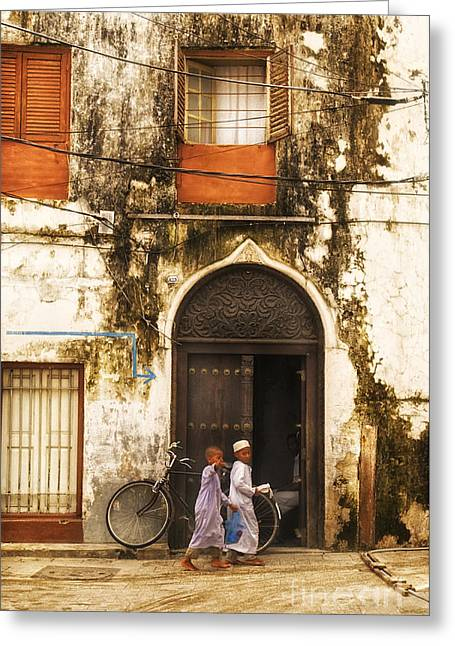 Teen Town Greeting Cards - Kids walking in Alley Stonetown Zanzibar Greeting Card by Nasser Studios