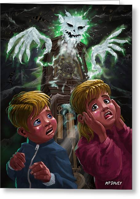 Ghost Illustration Greeting Cards - Kids with Haunted Grandfather Clock Ghost Greeting Card by Martin Davey