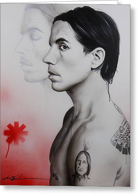 Musicians Paintings Greeting Cards - Kiedis Apache Soul Greeting Card by Christian Chapman Art