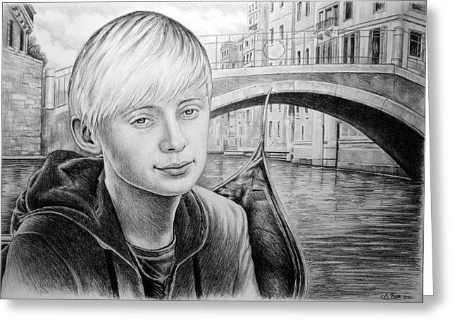 White River Drawings Greeting Cards - Kieran Greeting Card by Andrew Read