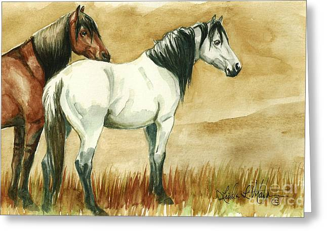 Llmartin Greeting Cards - Kiger mares Greeting Card by Linda L Martin