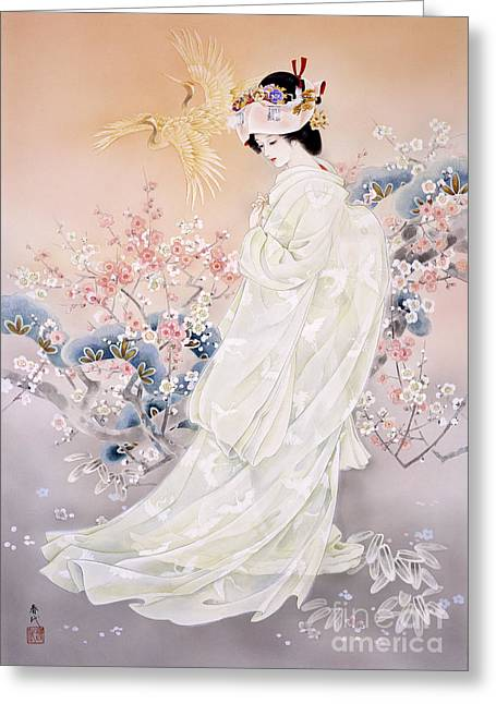 Pastel Pink Greeting Cards - Kihaku Greeting Card by Haruyo Morita