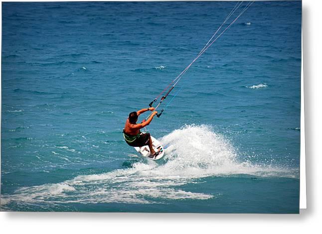 Kite Surfing Greeting Cards - Kiholo Kitesurfer Greeting Card by Lori Seaman