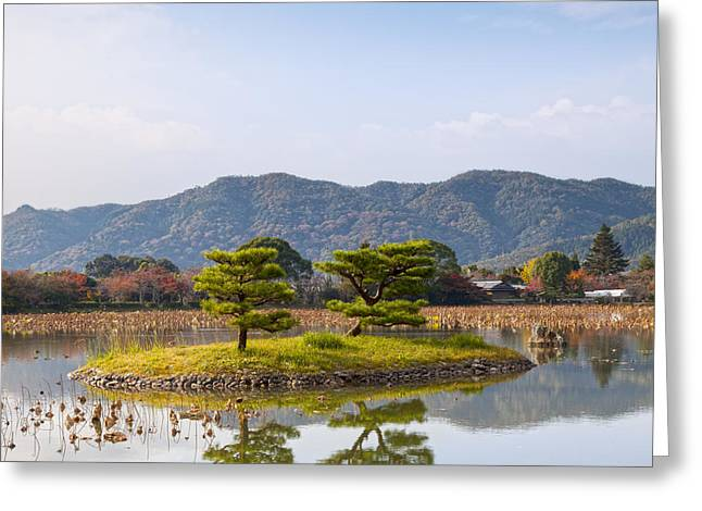 Kyoto Greeting Cards - Kikugashima Island in Osawa Pond Daikaku-ji Temple Kyoto Greeting Card by Colin and Linda McKie