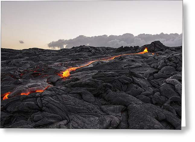 Glowing Greeting Cards - Kilauea Volcano 60 Foot Lava Flow - The Big Island Hawaii Greeting Card by Brian Harig